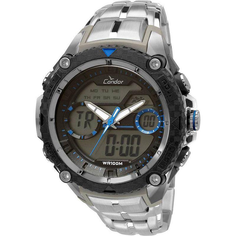 Relógio Condor Masculino Aço Inoxidável Cronógrafo Anadigi COAD1146AA/3A