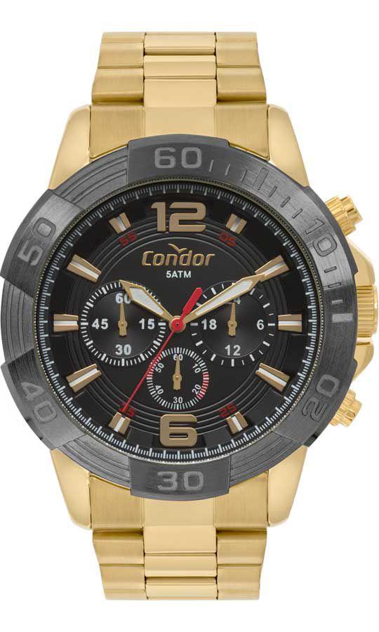 Relógio Condor Masculino Dourado Aço Cronógrafo Multi Função Analógico COVD54AY/4P