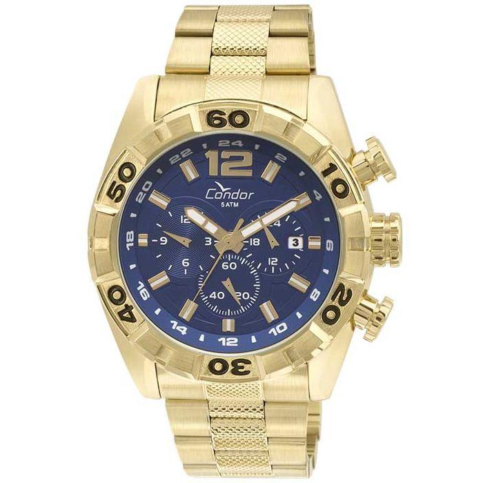 Relógio Condor Masculino Dourado Cronógrafo Aço Multi Função COVD33AA/4A