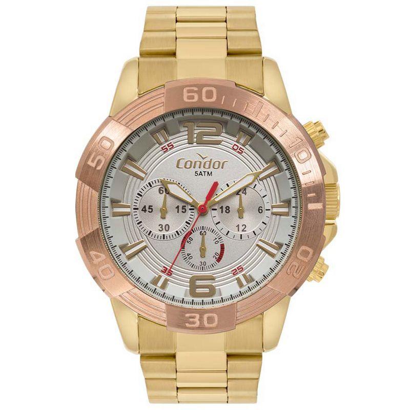 Relógio Condor Masculino Dourado Rosé Cronógrafo Civic Aço Multi Função COVD54AZ/4C
