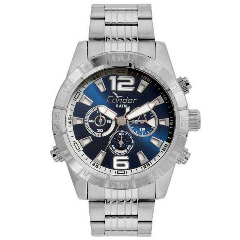 Relógio Condor Masculino Prata Aço Inox Cronógrafo Multi Função COVD54AX/3B