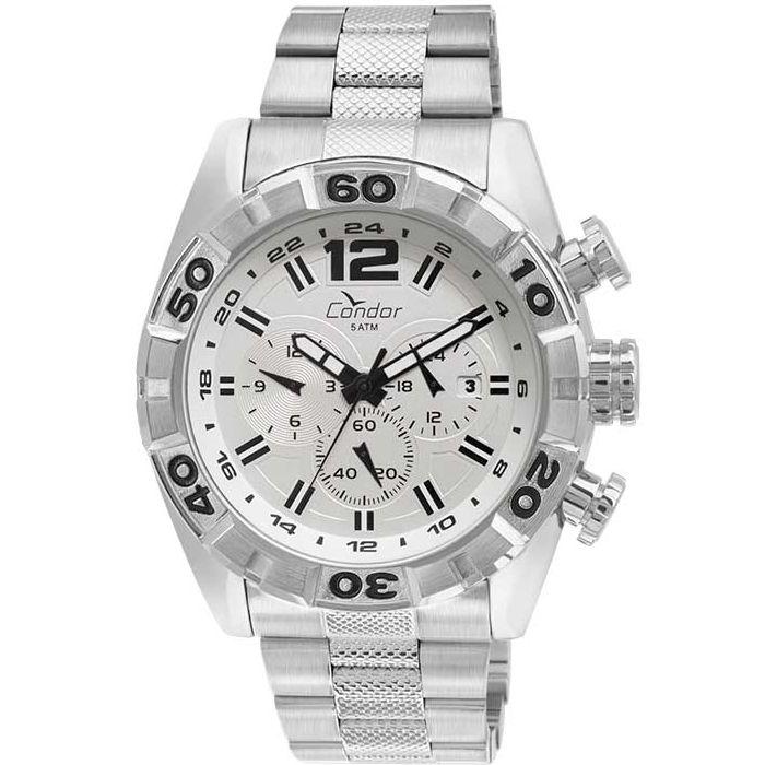 Relógio Condor Masculino Prata Cronógrafo Aço Multi Função Civic COVD33AU/3B