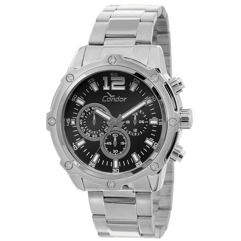Relógio Condor Masculino Prata Cronógrafo Aço Multi Função Civic COVD54AD/3P