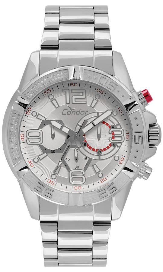 Relógio Condor Masculino Prata Cronógrafo Aço Multi Função COVD54AT/3K