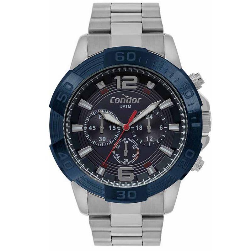 Relógio Condor Masculino Prata Cronógrafo Civic Aço Multi Função COVD54BA/3A