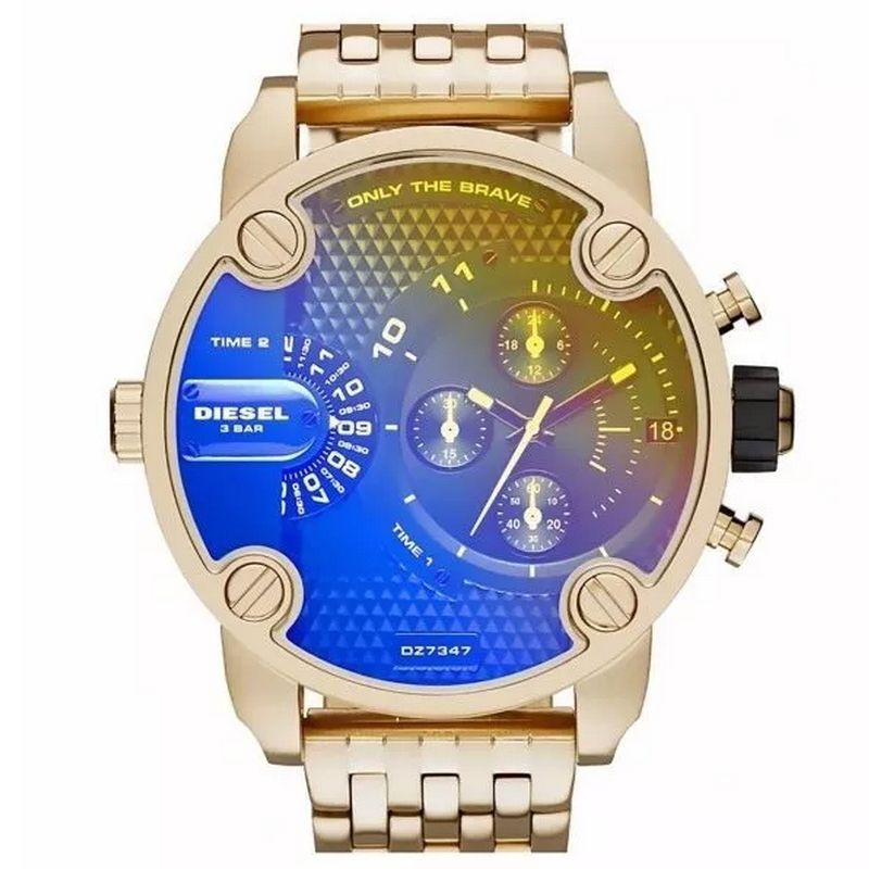Relógio Diesel Masculino Aço Inoxidável Dourado Only The Brave Cronógrafo Furta Cor Dz7347/4an