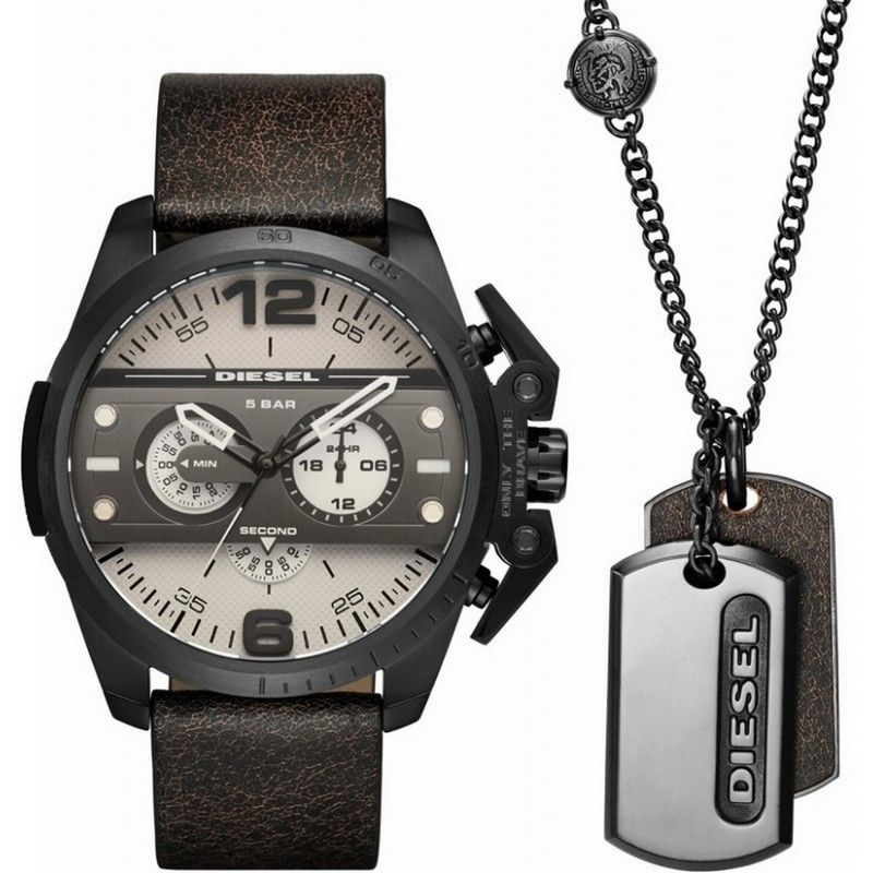 Relógio Diesel Masculino Couro Cronógrafo Multi Função Big Case Kit Masculino DZ4416/0XN