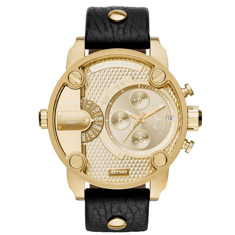 Relógio Diesel Masculino Couro Cronógrafo Multi Função Big Case Only The Brave DZ7363/0DN