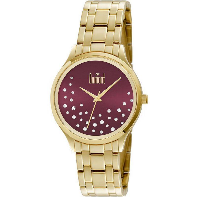Relógio Dumont Feminino Dourado Fashion Analógico Aço DU2036LST/4N