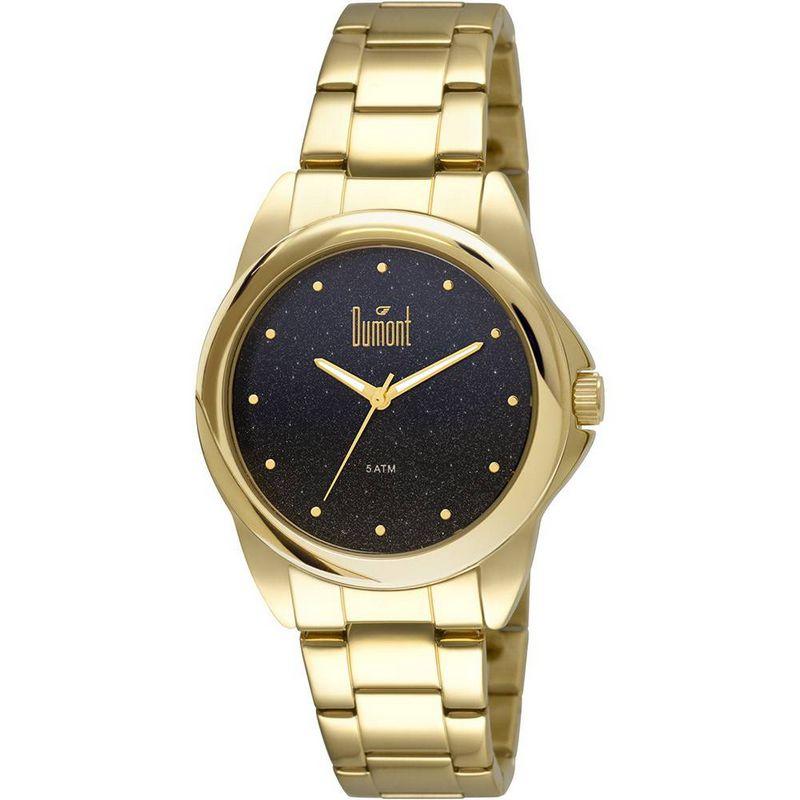 Relógio Dumont Feminino Dourado Glitter Analógico Aço DU2035LNU/4A