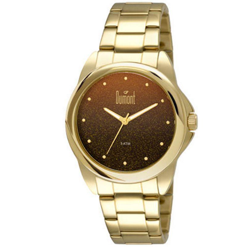 Relógio Dumont Feminino Dourado Glitter Analógico Aço DU2035LNU/4P