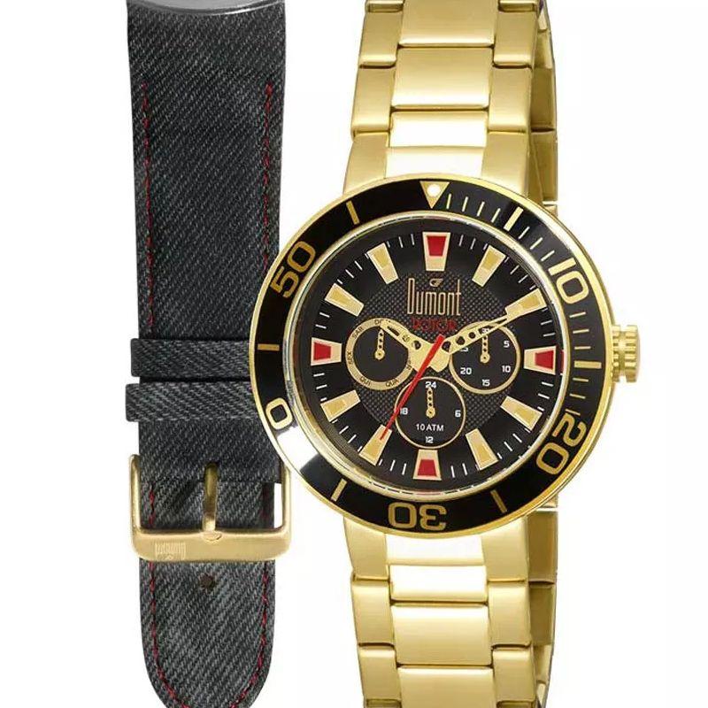 Relógio Dumont Masculino Rotor Dourado Aço Couro Troca Pulseira DU6P29ABV/2P