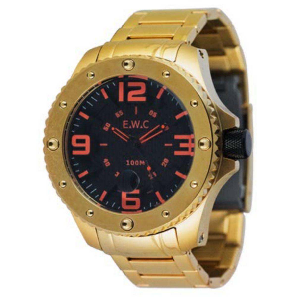 Relógio E.W.C Masculino Analógico Dourado Aço Inox Colossal EUT-12339-O