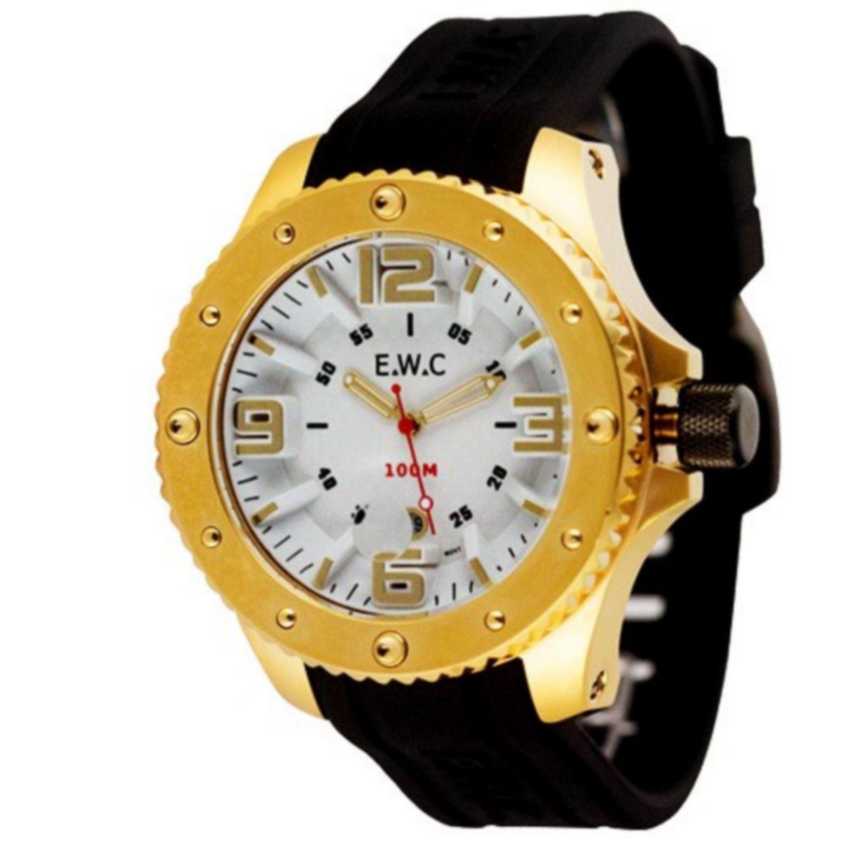 Relógio E.W.C Masculino Analógico Dourado Borracha Preto Aço Inox Colossal EUT15100-B