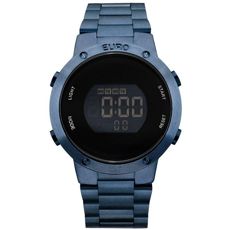 Relógio Euro Feminino Aço Digital Azul Cronógrafo Fashion Fit EUBJ3279AC/4A