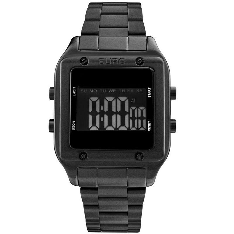 Relógio Euro Feminino Aço Digital Preto Cronógrafo Fashion Fit EUG2510AC/4P