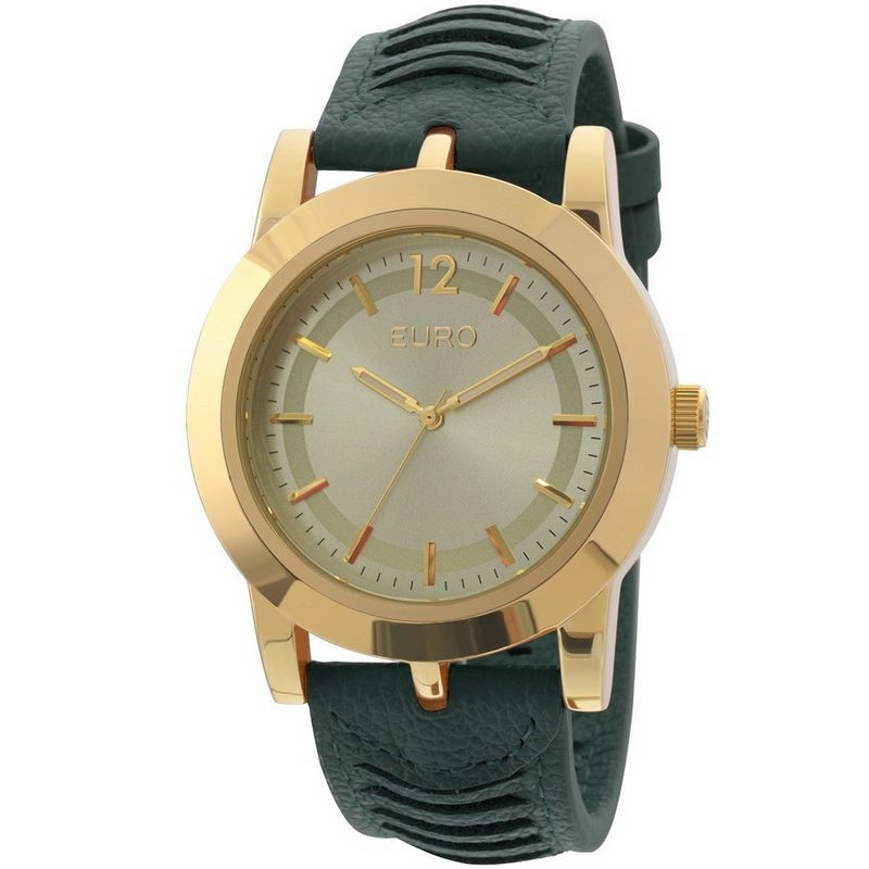 Relógio Euro Feminino Couro Verde Casual Fashion Analógico EU2035XZL/2C