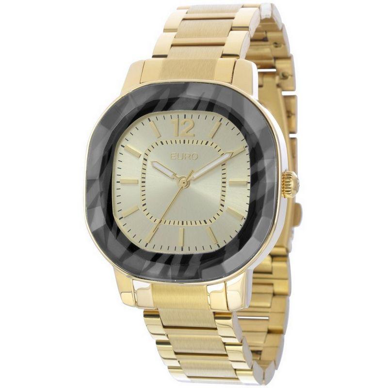 Relógio Euro Feminino Dourado Aço Analógico Facetados EU2035XZG/4P