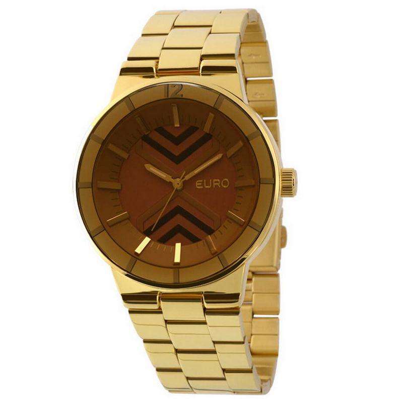 Relógio Euro Feminino Dourado Aço Analógico Fashion Fumê EU2036LYR/4L