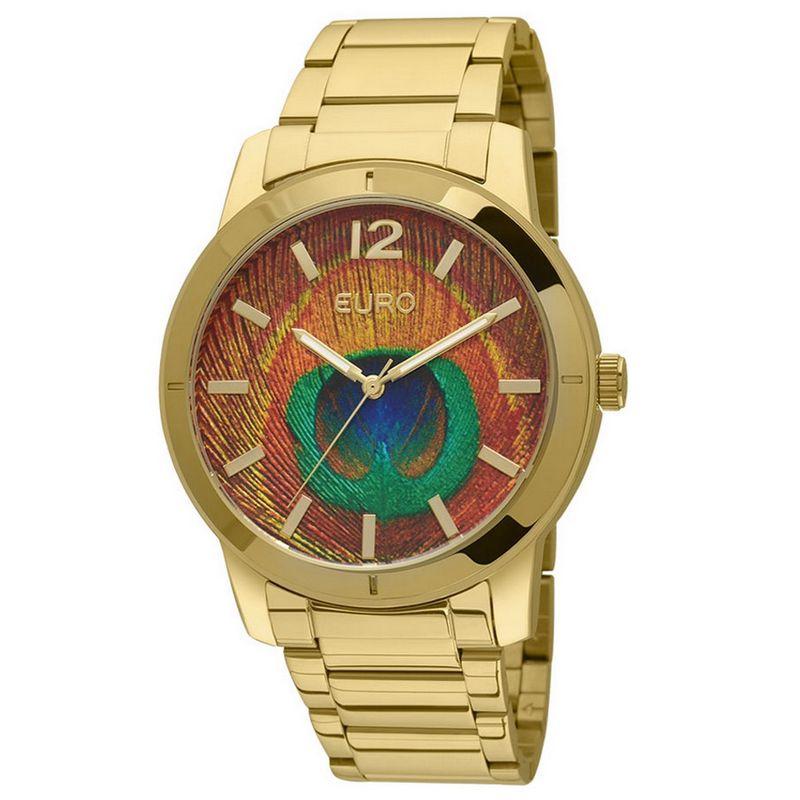 Relógio Euro Feminino Dourado Aço Analógico Pavão EU2036LYM/4M