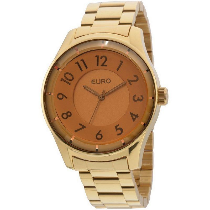 Relógio Euro Feminino Dourado Aço Redondo Fumê Casual EU2036LYO/4D