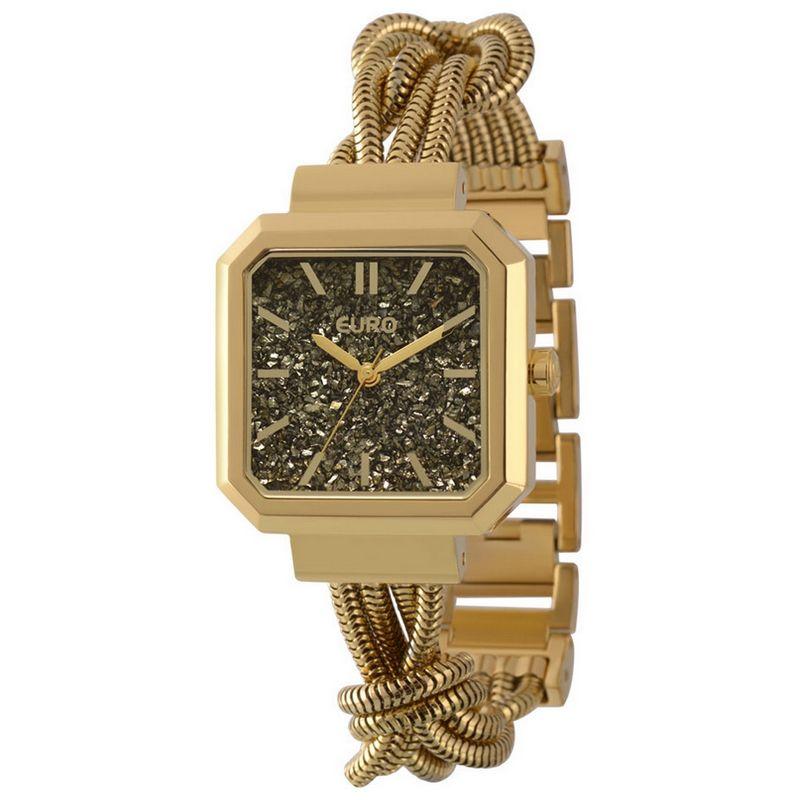 Relógio Euro Feminino Dourado Fashion Quadrado Analógico + Kit Maquiagem Sombra EU203AAD/K4C
