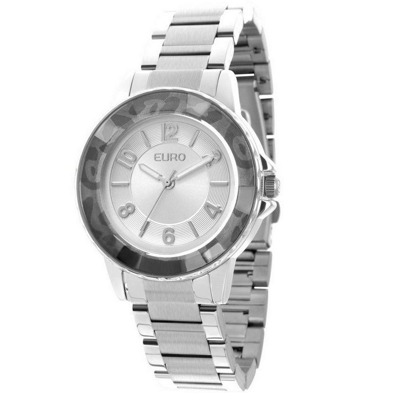 Relógio Euro Feminino Prata Aço Analógico Casual Fashion EU2035XZD/3K