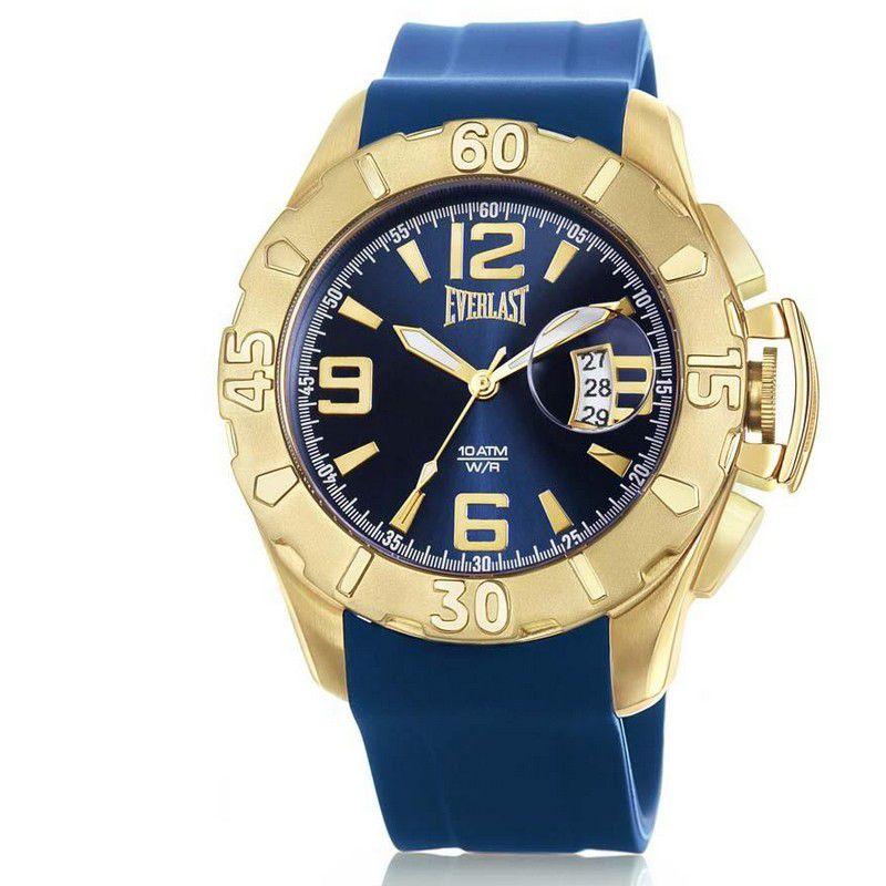 Relógio Everlast Masculino Azul Cronógrafo Silicone E569