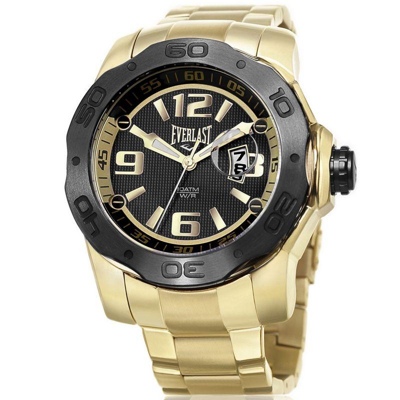 Relógio Everlast Masculino Dourado Aço Inox Analógico E443