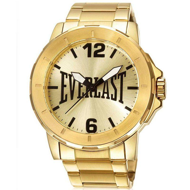 Relógio Everlast Masculino Dourado Aço Inox Analógico E598