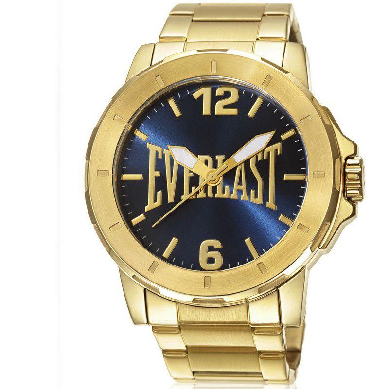 Relógio Everlast Masculino Dourado Aço Inox Analógico E599