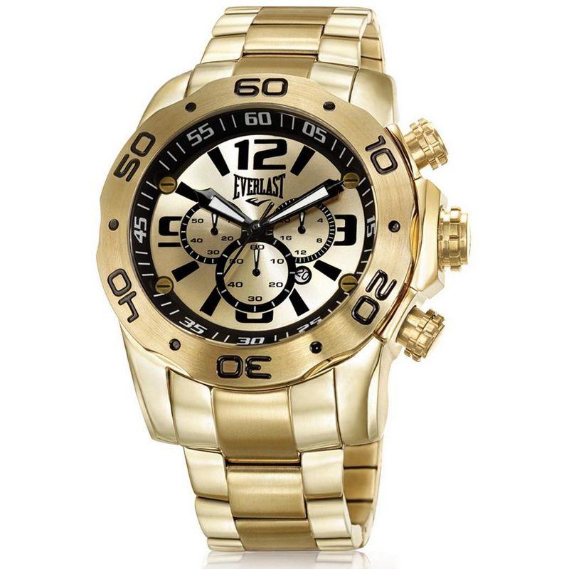 Relógio Everlast Masculino Dourado Cronógrafo Aço Inox Analógico E545