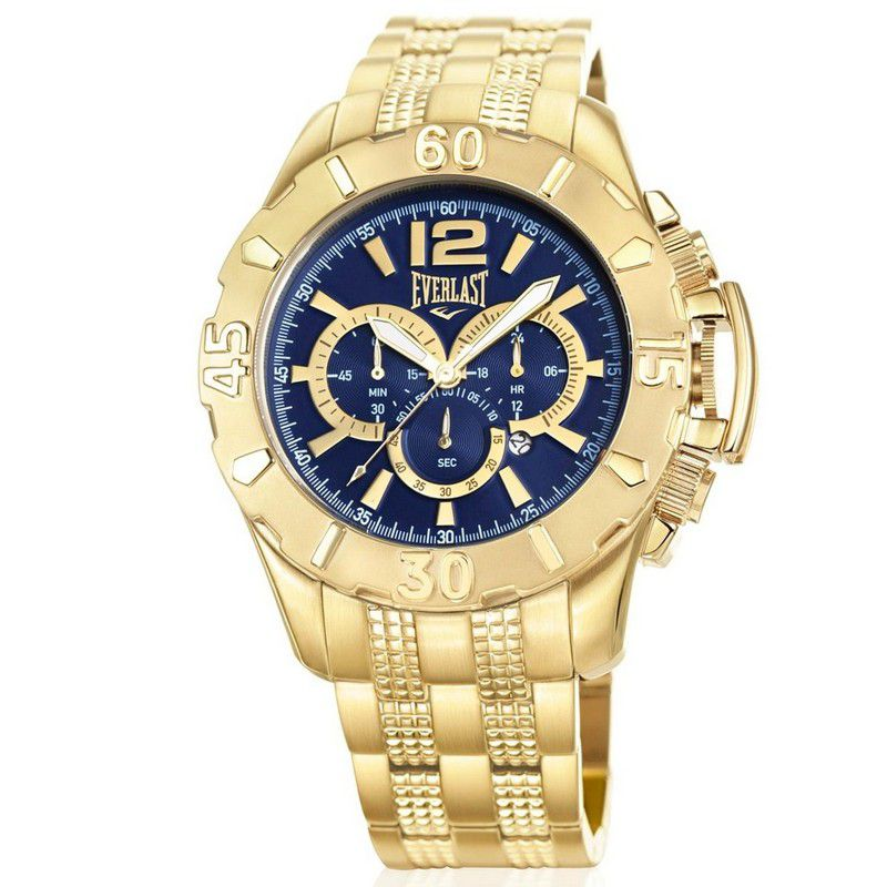 Relógio Everlast Masculino Dourado Cronógrafo Aço Inox Analógico E566