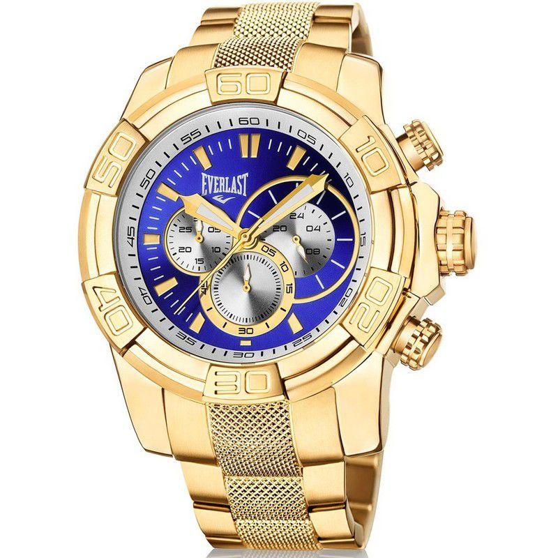 Relógio Everlast Masculino Dourado Cronógrafo Aço Inox Analógico E647