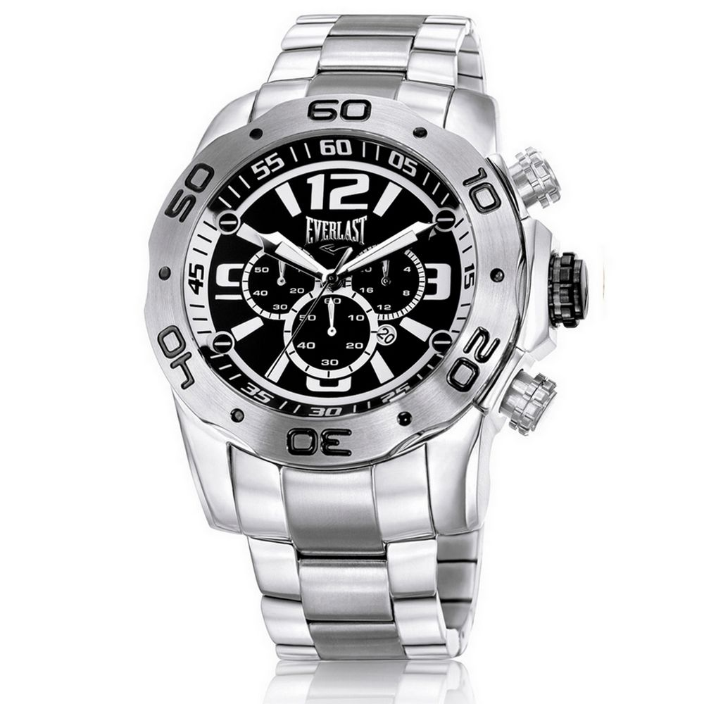 Relógio Everlast Masculino Prata Cronógrafo Aço Inox Analógico E549