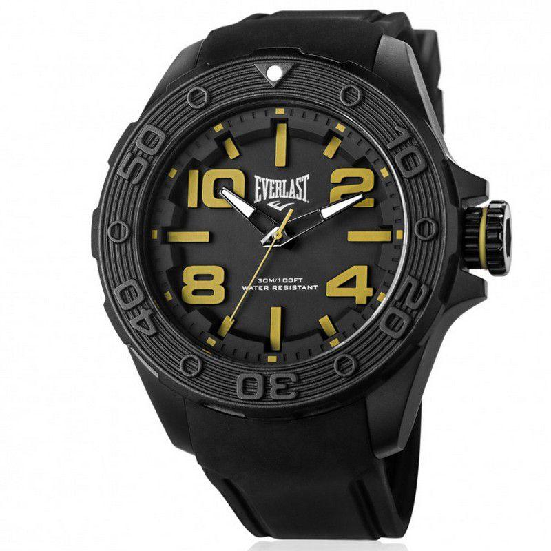 Relógio Everlast Masculino Preto Cronógrafo Silicone E618