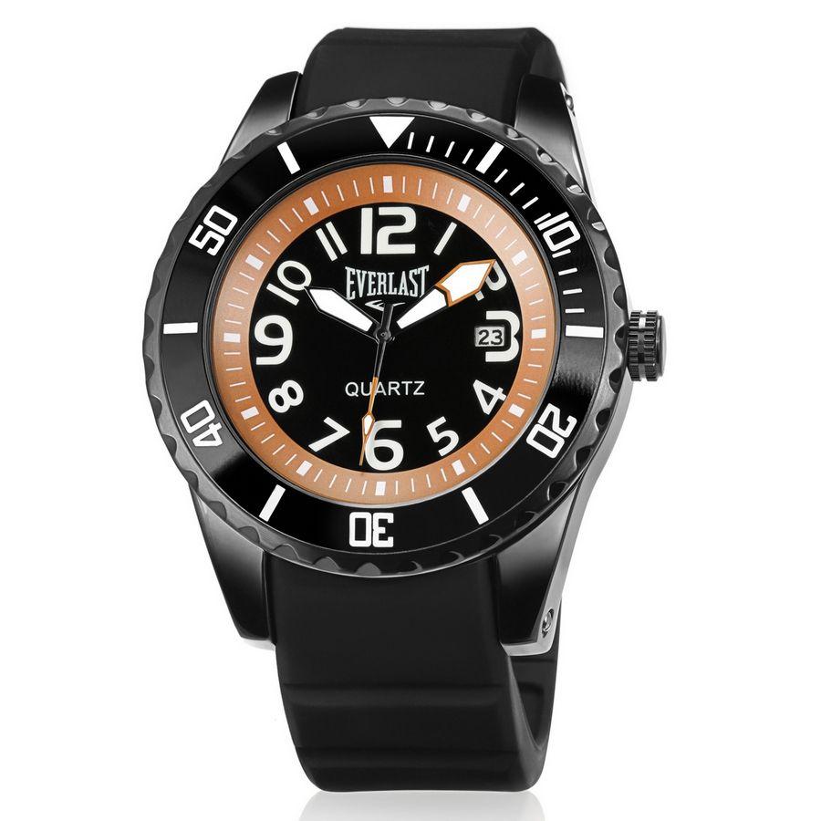 Relógio Everlast Masculino Silicone Preto Analógico Calendário E514