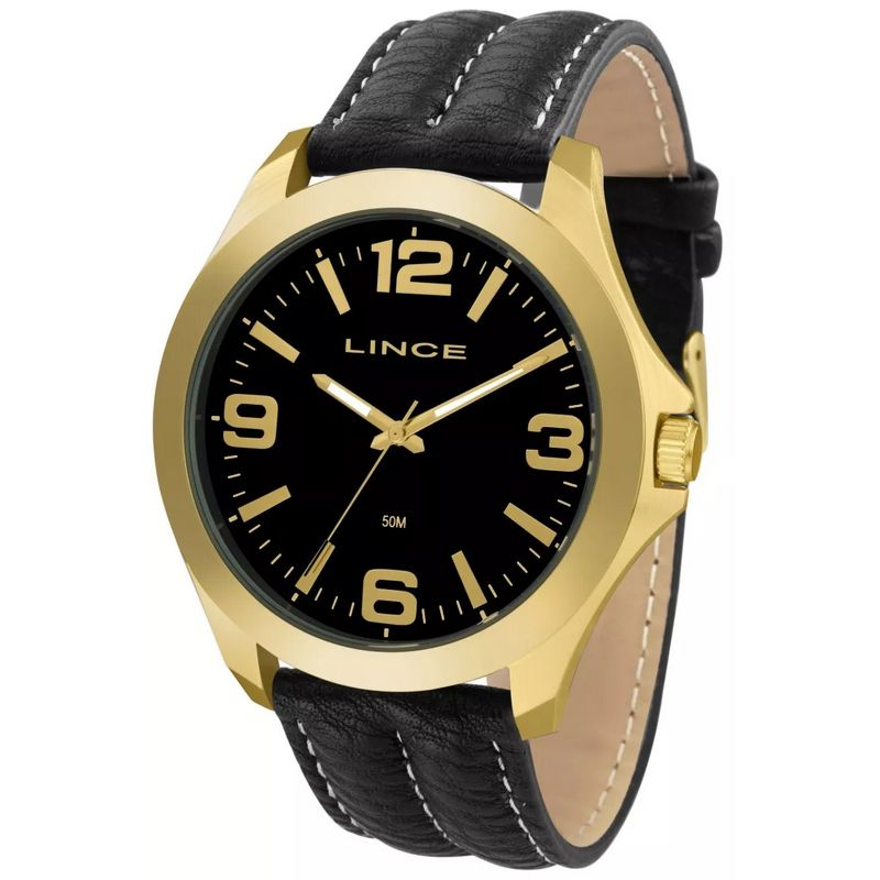 Relógio Lince Masculino Couro Preto Analógico MRC4545L P2PB