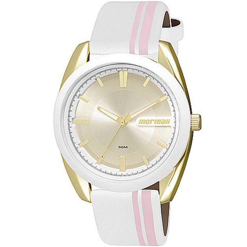Relógio Mormaii Feminino Couro Branco Analógico MO2039AG/8K