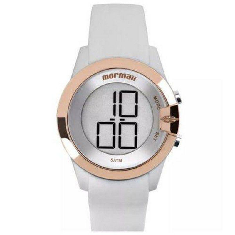 Relógio Mormaii Feminino Silicone Branco Digital MO13001B/8K