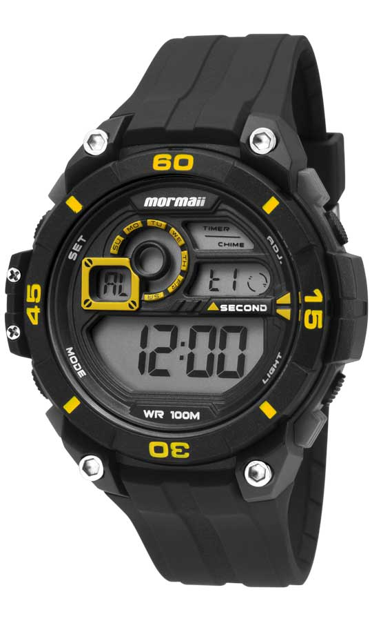 Relógio Mormaii Masculino Borracha Preto Acqua Digital Cronógrafo MO2019/8Y