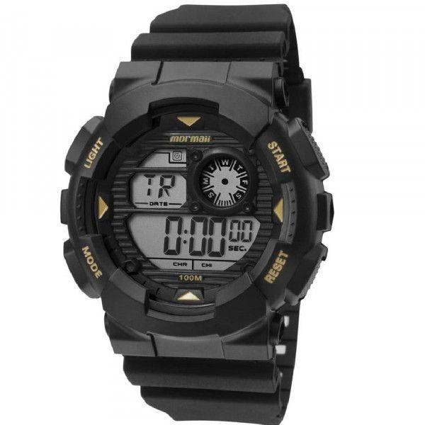 Relógio Mormaii Masculino Borracha Preto Wave Digital Cronógrafo MO3415A/8P