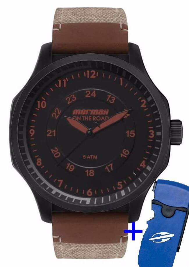 Relógio Mormaii Masculino Couro Legítimo Marrom On The Road Analógico MO2035GY/K8P