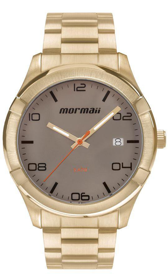 Relógio Mormaii Masculino Dourado Analógico Aço Inox Calendário MO2415AF/4C