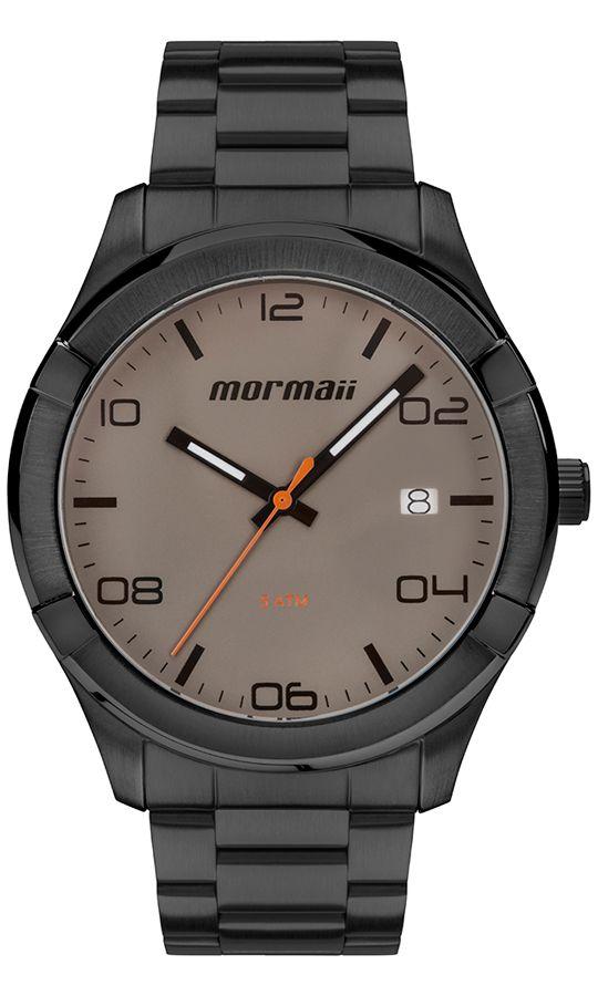 Relógio Mormaii Masculino Grafite Analógico Aço Inox Calendário MO2415AG/4C