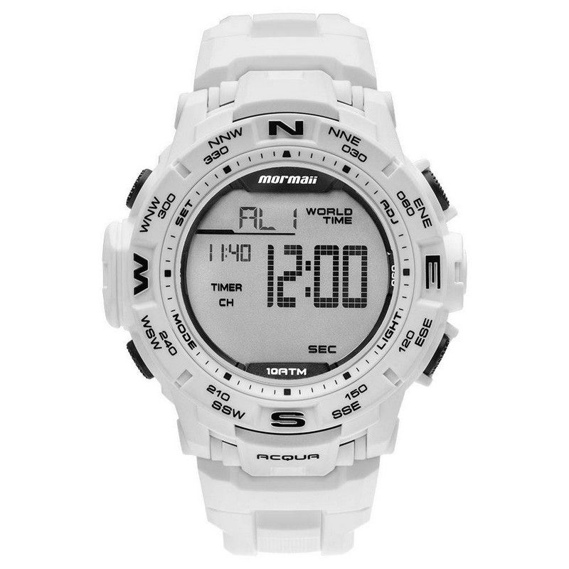 Relógio Mormaii Masculino Silicone Branco Acqua Digital MO1173E/8B