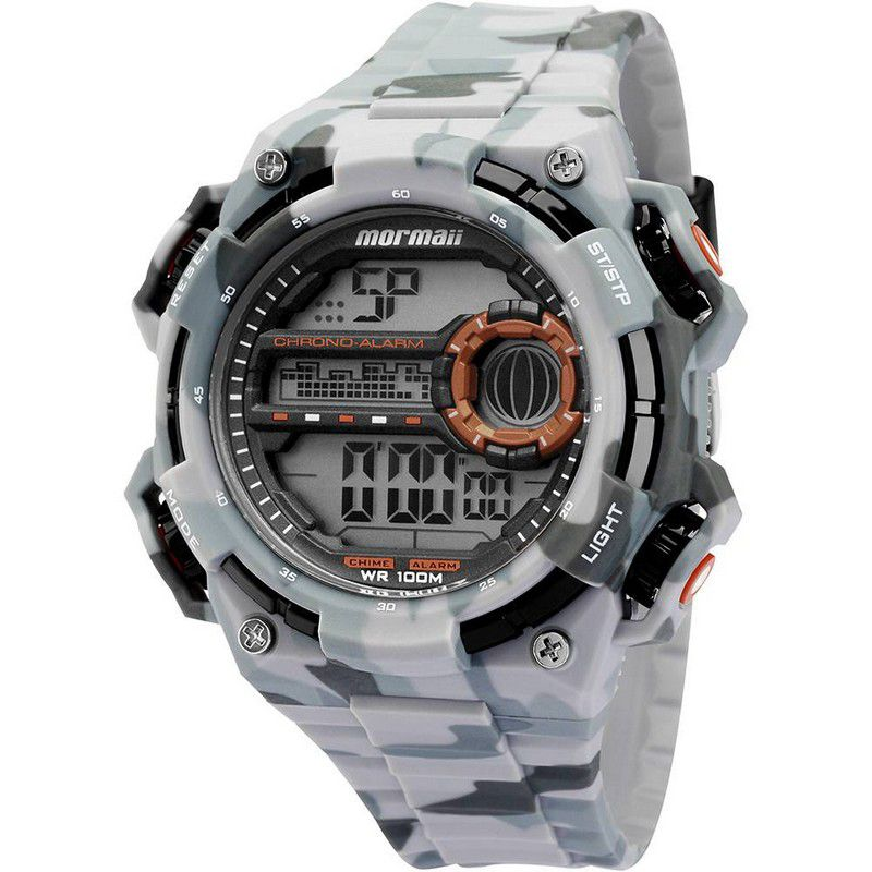 Relógio Mormaii Masculino Silicone Cinza Verde Digital MOYP41639B/8C