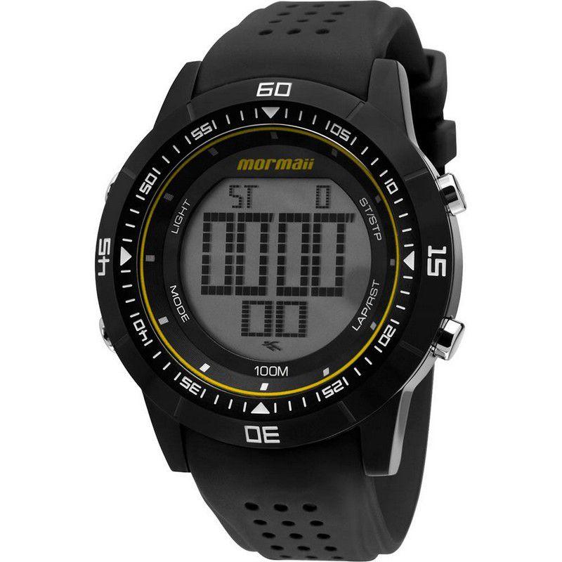 Relógio Mormaii Masculino Silicone Preto Digital Cronógrafo Calendário Cronômetro NW0851B/8P