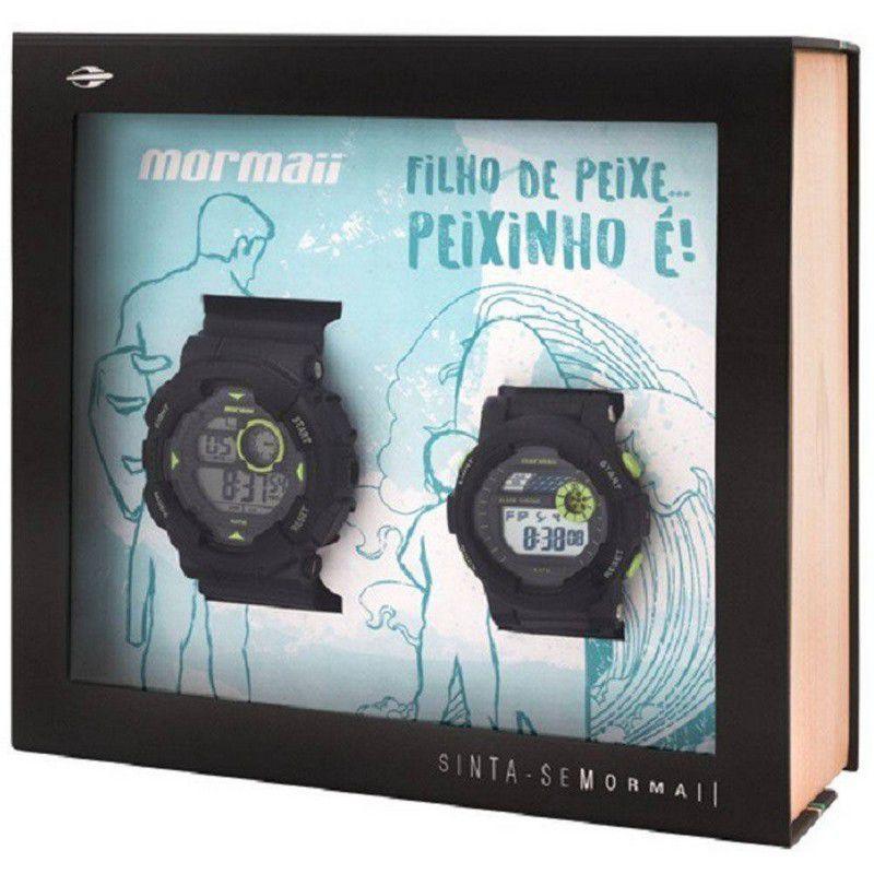 Relógio Mormaii Masculino Silicone Preto Tal Pai Tal Filho Digital MO9081/8C