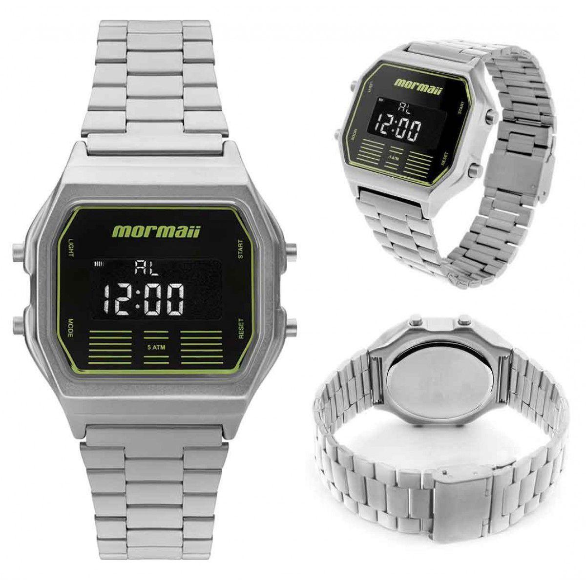 Relógio Mormaii Unissex Aço Vintage Digital Prata MOBJ3715B/K3P